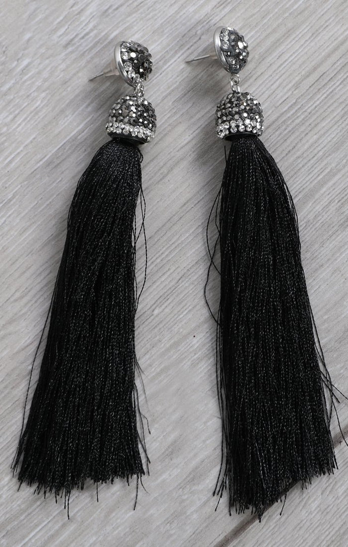 Black Embellished Tassel Earrings