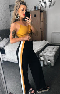 Mustard-And-White-Stripe-Wide-Leg-Trousers