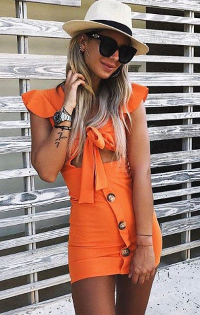 Orange Bow Front Cut Out Mini Dress - Taliha
