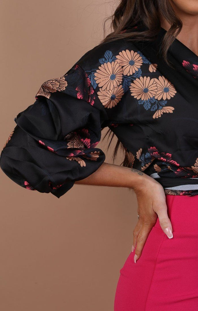 Black-Floral-Satin-Ruched-Sleeves-Wrap-Top