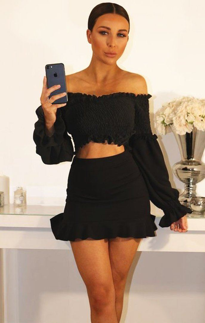 Black Bardot Ruched Sleeve Crop Top sale Femme Luxe