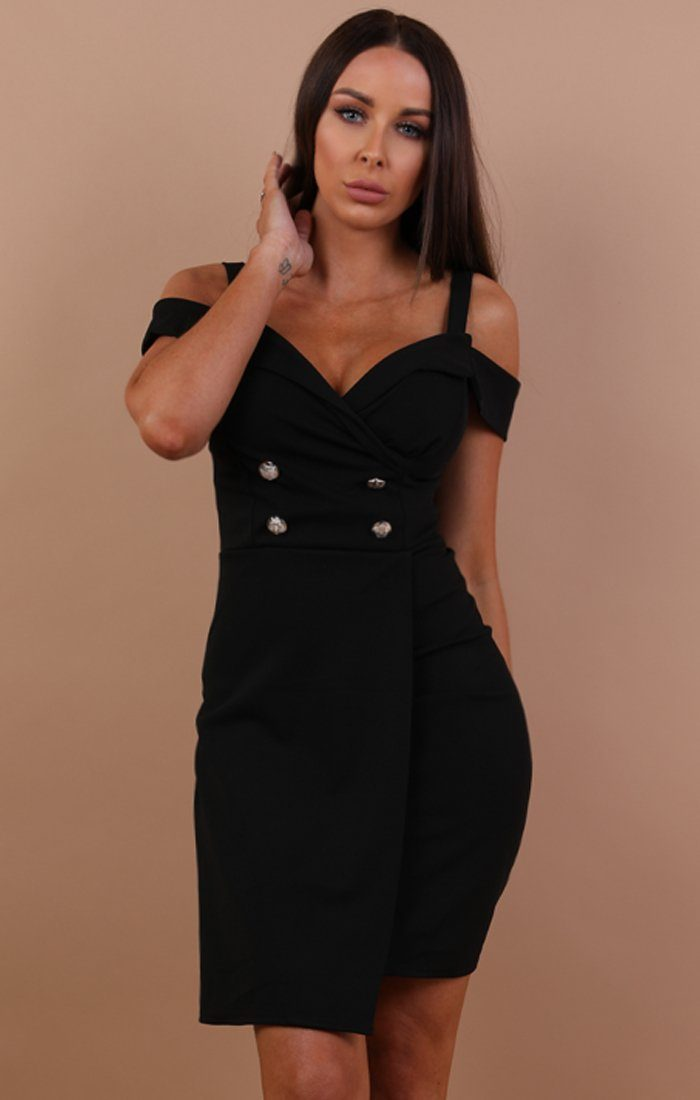 Black Cold Shoulder Blazer Dress - Nikki