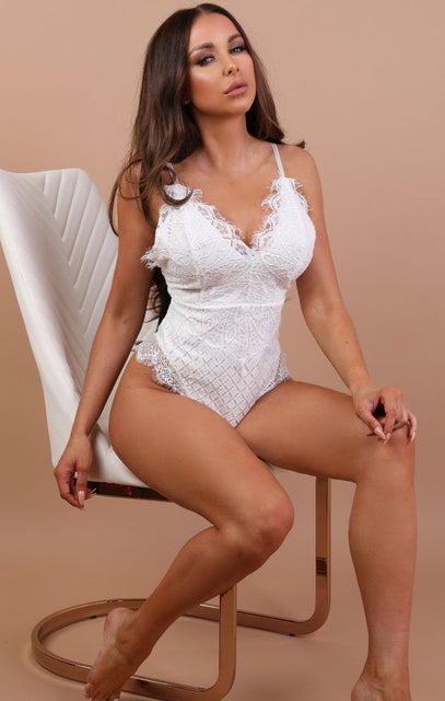 White Lace Top Bodysuit - Harper
