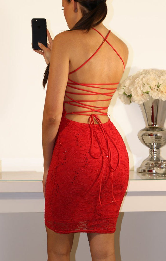 RED TIE BACK LACE BODYCON DRESS