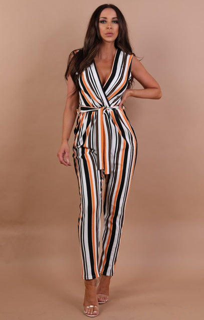 Orange Multicolour Stripe Belted Jumpsuit - Chlo