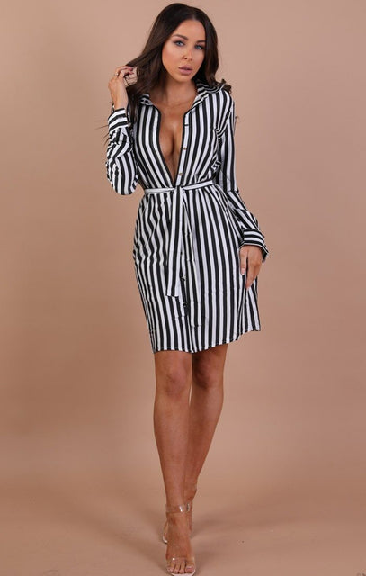 Black And White Striped Shirt Dress - Kia