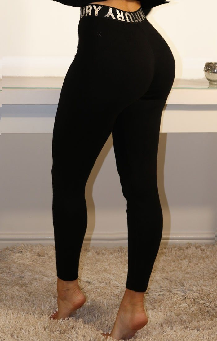 Black Luxury Printed Waistband Leggings