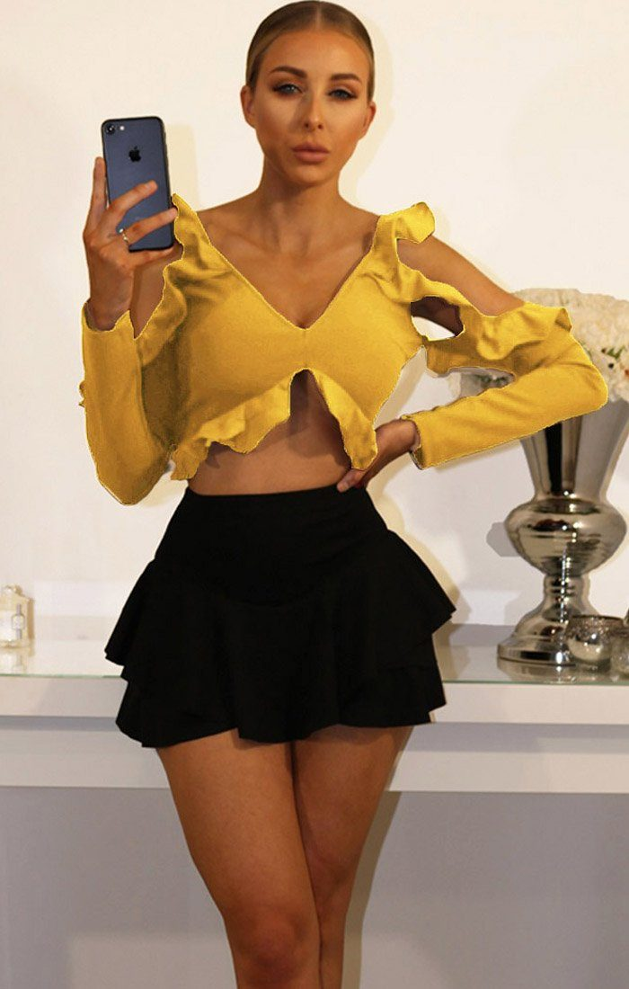 Mustard Cold Shoulder Frill Detail Crop Top