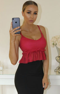 Red Mesh Frill Hem Cami Crop Top