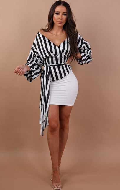 Black And White Stripe Wrap Shirt - Thea