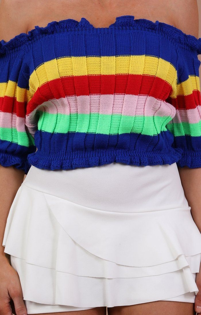 Rainbow Bardot Cropped Jumper - Dena