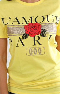 Yellow L'amour Paris Slogan T-shirt - Kiera