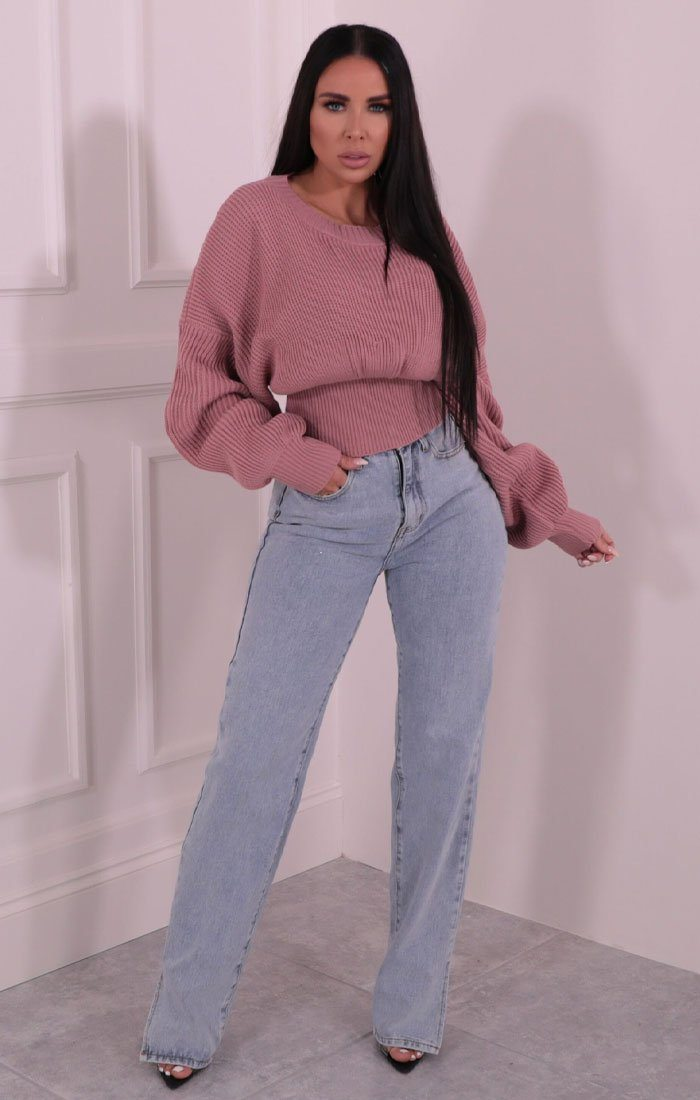 Dusky Pink Balloon Sleeve Knitted Jumper - Kelby