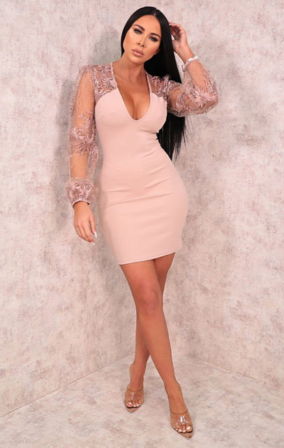 Dusky Pink Floral Lace Sleeve Mini Dress - Raven