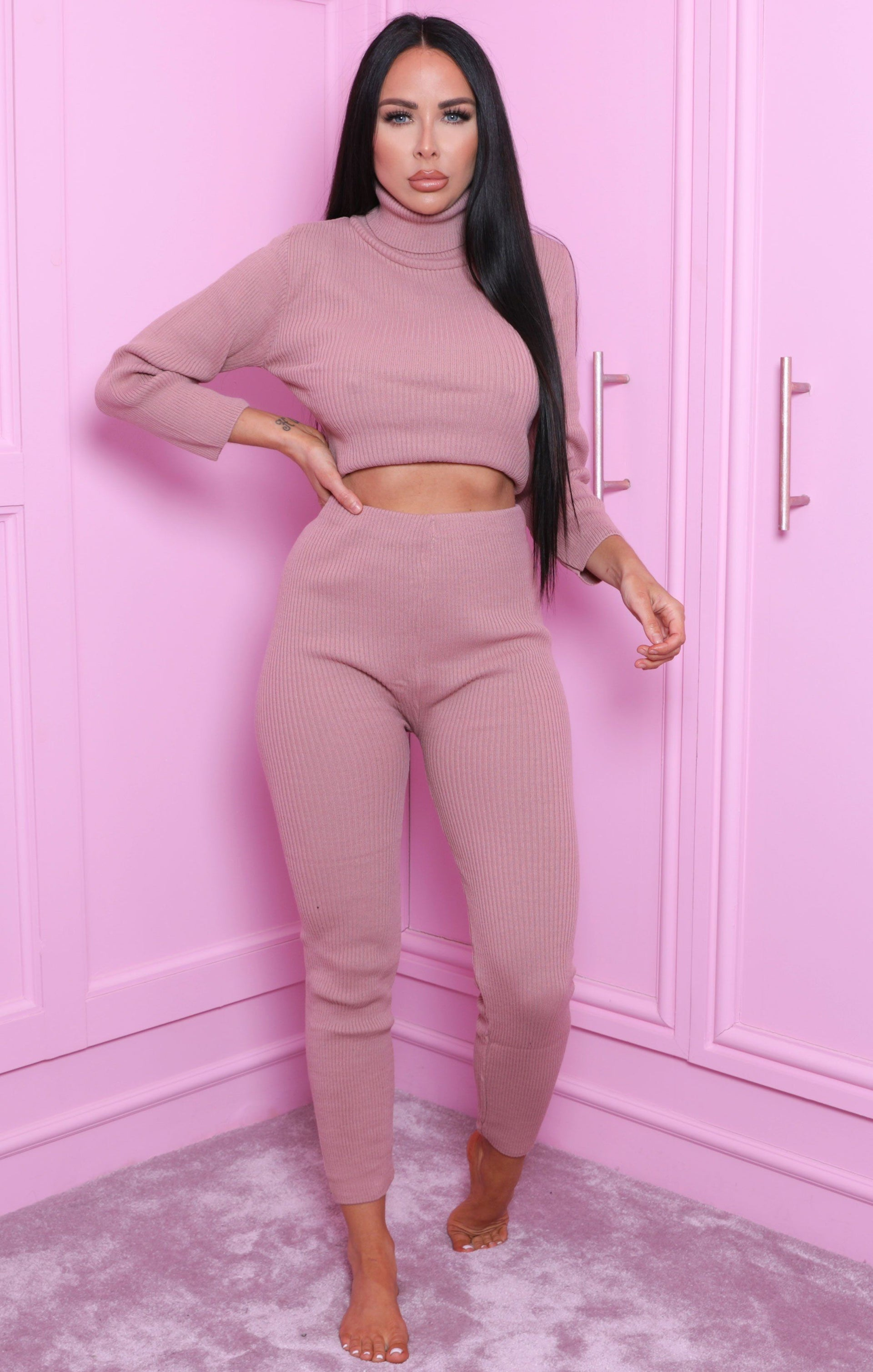 Dusky Pink High Neck Cropped Loungewear Set - Ella