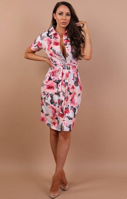 Pink Blush Print Belted Shirt Dress - Saphire