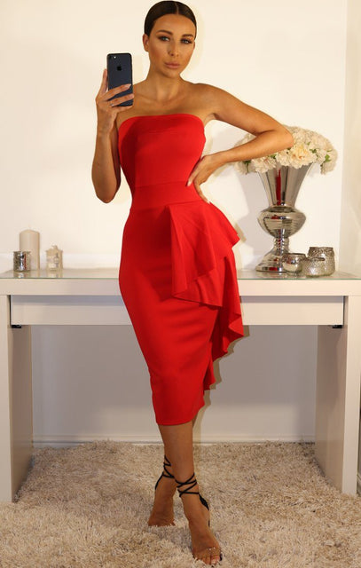 Red Side Frill Bandeau Dress