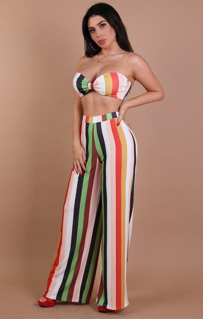 Multi-coloured Stripe Two Piece Co-ord Set – Annabelle