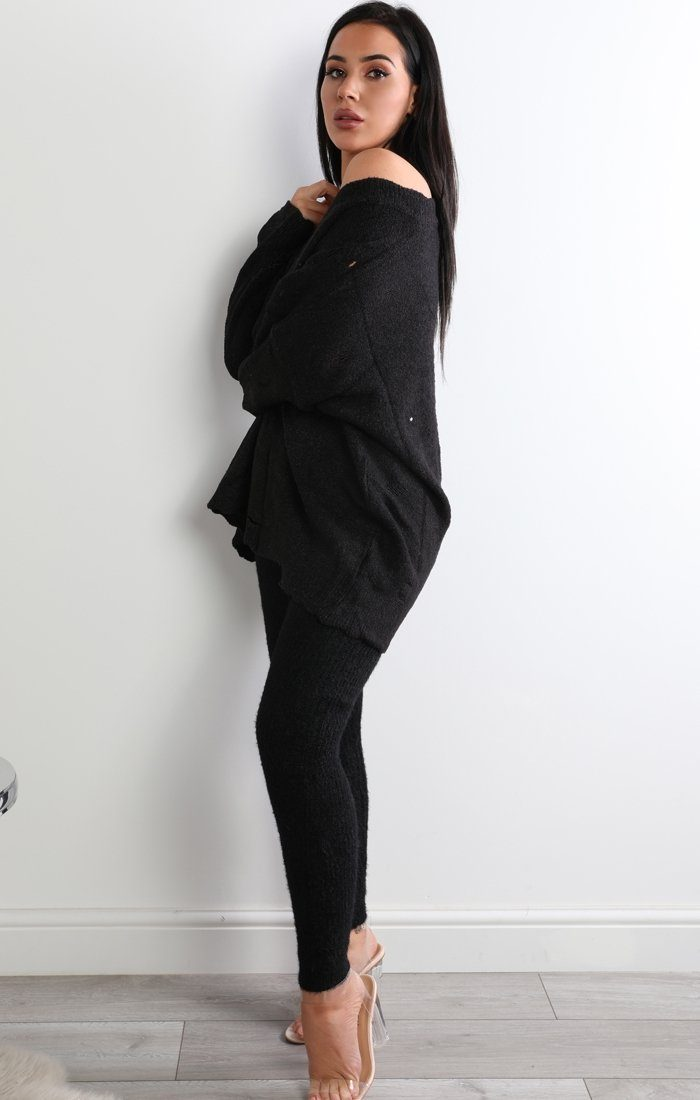 Black Oversized Distressed Sweater - Sophie