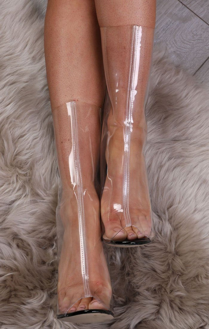 Black Peeptoe Transparent Shoe Boot - Jenna