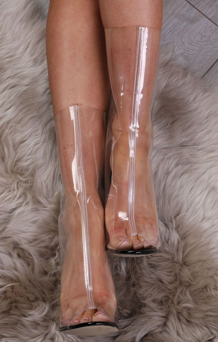 Black Peeptoe Transparent Shoe Boot