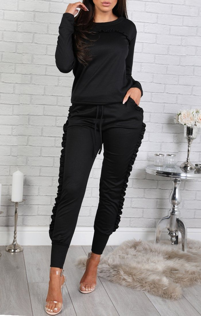 Black Frill Loungewear Set - Faye