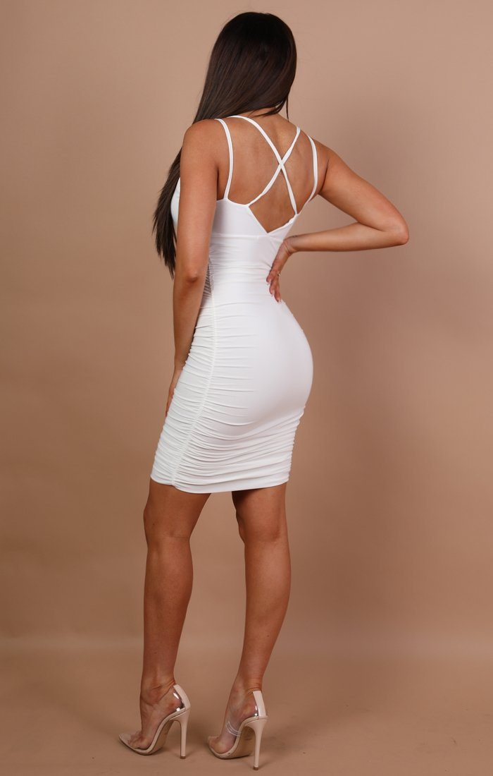 White Ruched Bodycon Mini Dress - Amara