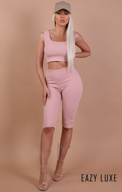 Dusky Pink Thick Strap Basic Crop Top - Tammy