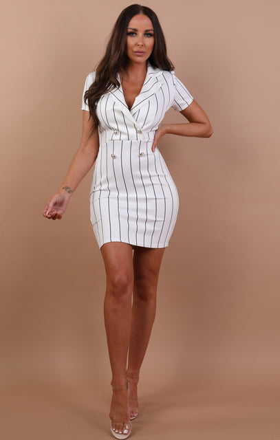 White Striped Bodycon Blazer Dress - Mariah