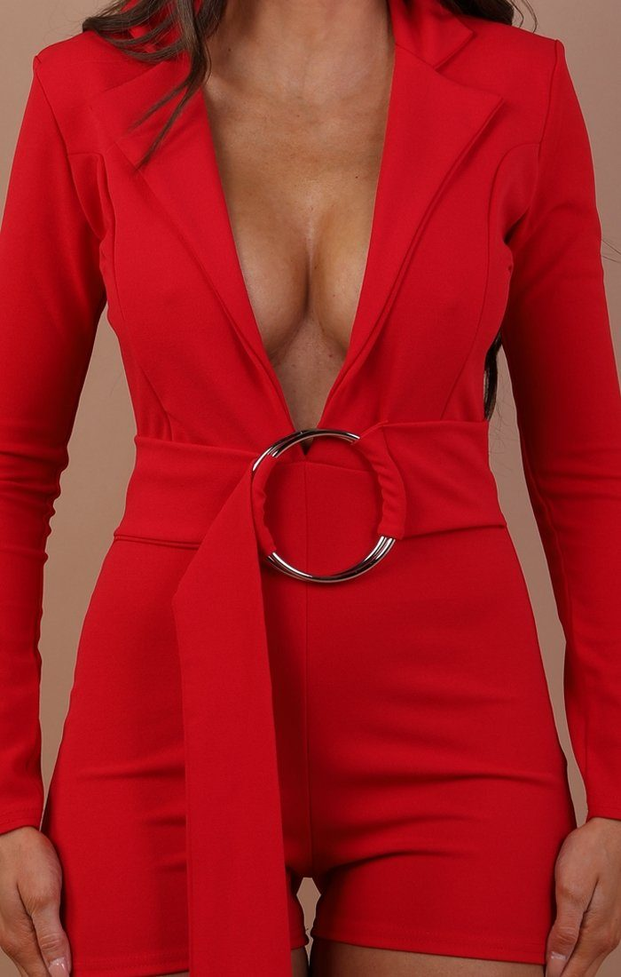 Red Plunge Ring Front Playsuit - Marley
