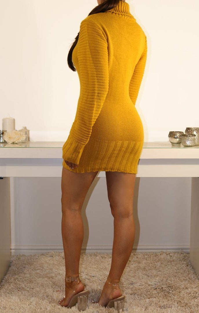 Mustard Roll Neck Chunky Knit Jumper Dress