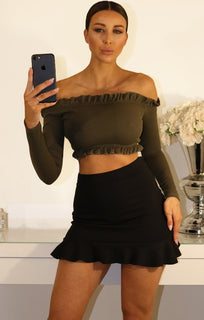 Khaki Ribbied Frill Detail Bardot Crop Top