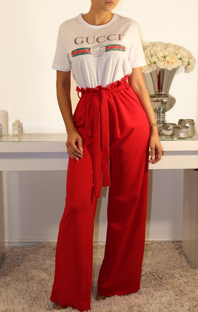 Red Paper Bag Tie Waist Wide Leg Trousers