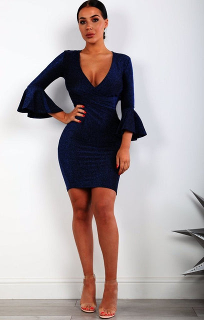 Blue Bell Sleeve Bodycon Mini Dress