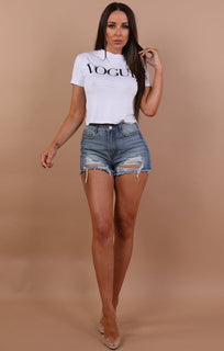 White Vogue Printed Crop Top - Molly sale Femme Luxe