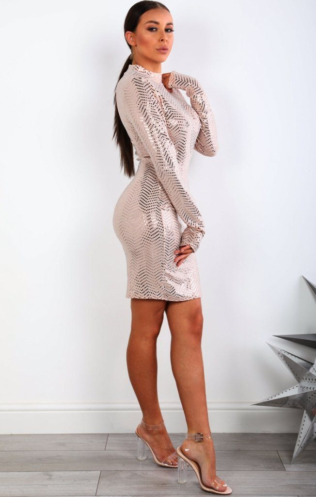 Nude Sequin High Neck Bodycon Dress