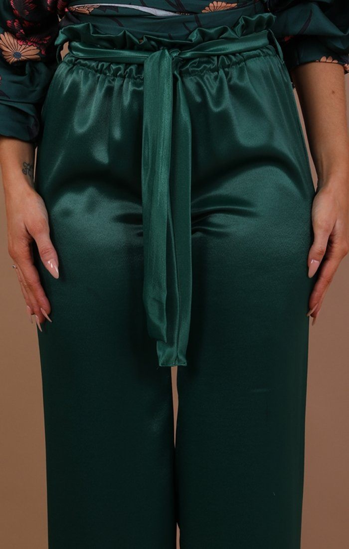 Green Satin Paper Bag Trousers - Katrina