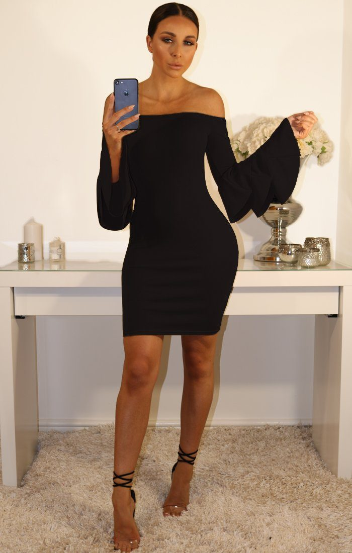Black Bardot Bell Sleeve Bodycon Dress