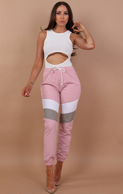 Pink Contrast Festival Joggers - Alexis