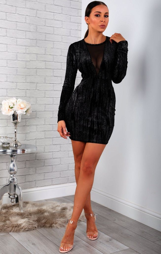 Black Glitter Mesh Panel Bodycon Dress