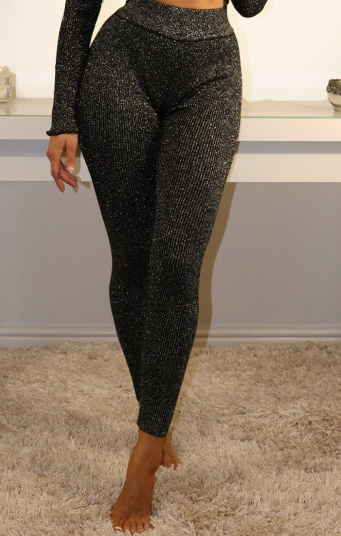 Black Sparkle Ribbed Leggings