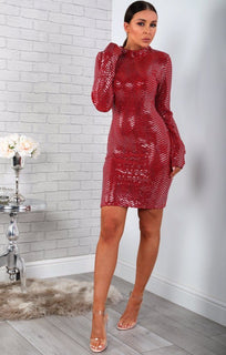 Red Sequin High Neck Bodycon Dress