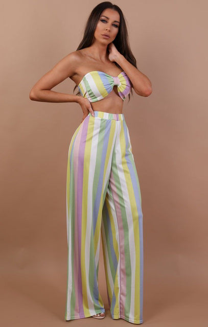 Pastel Coloured Stripe Two Piece Co-ord Set - Annabelle