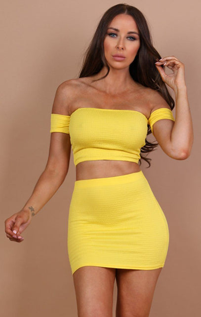 Yellow Ruched Bardot Crop Top - Chelsea