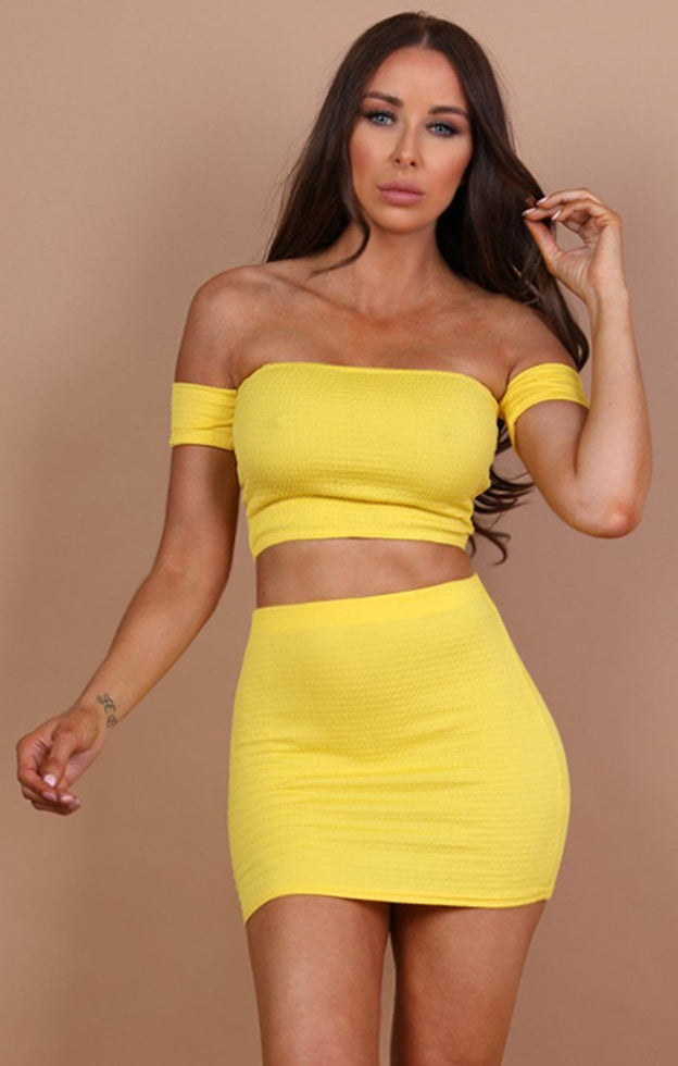 Yellow-Ruched-Bardot-Crop-Top