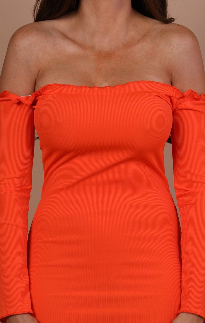 Orange Bardot Frill Midi Dress - Fiona