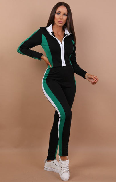 Green And White Colour Contrast Loungewear - Carrie