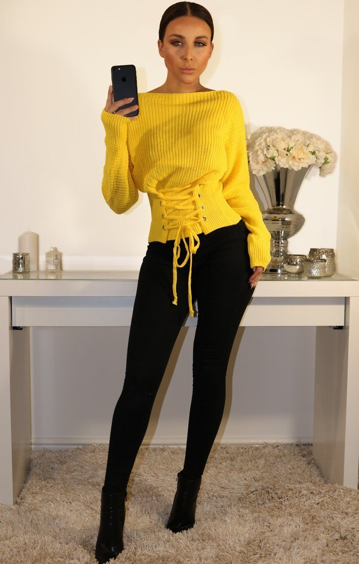Yellow Corset Front Knitted Jumper