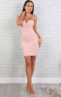 Nude Strappy Bodycon Dress - Callie
