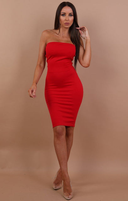 Red Lace Up Bandeau Bodycon Dress - Claudia